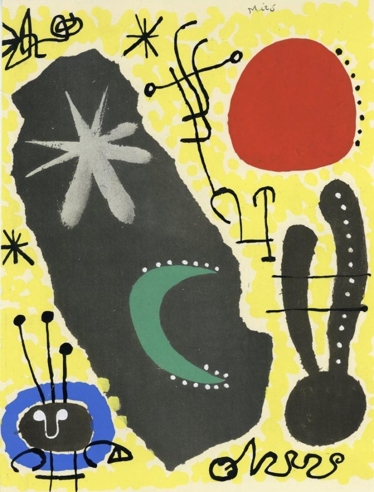 Joan Miro Pochoir Papier Colle, Figure, Joan Miro, kanvas tablo, canvas print sales