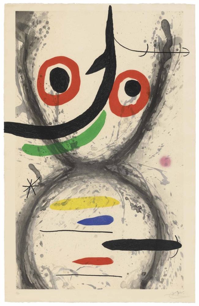 Joan Miro Kırmızı Fars, Figür, Joan Miro, kanvas tablo, canvas print sales