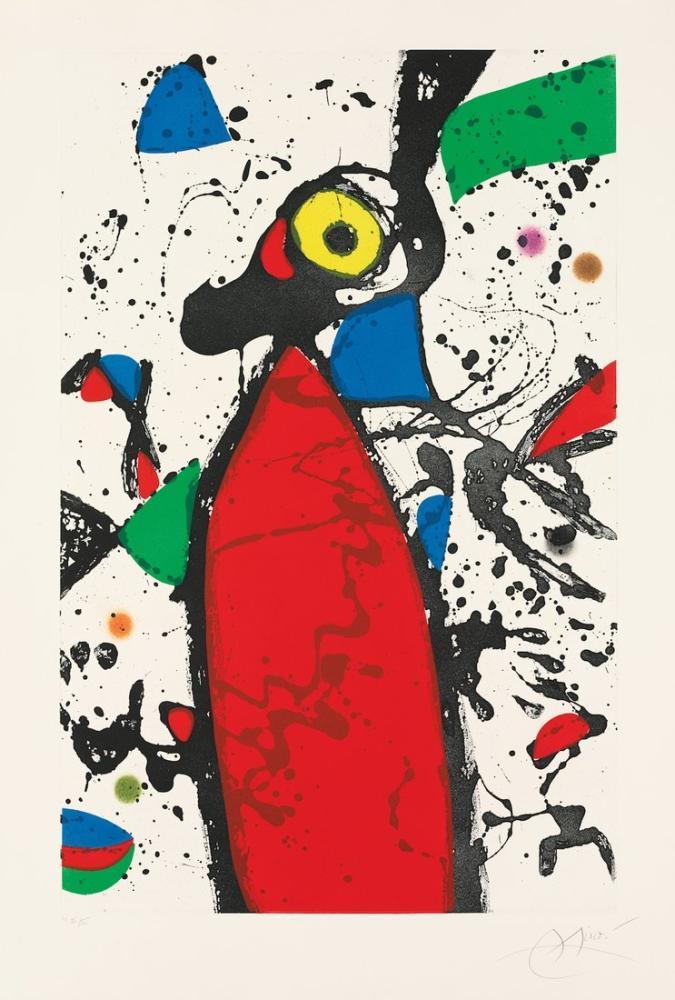 Joan Miro Kırmızı Fare Mantilla, Figür, Joan Miro, kanvas tablo, canvas print sales