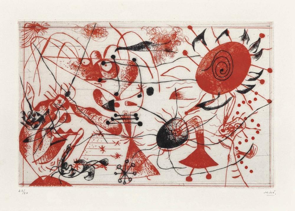 Joan Miro Serie Noire Et Rouge One Plate II, Figure, Joan Miro, kanvas tablo, canvas print sales