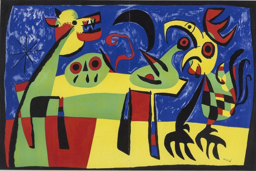 Joan Miro Havlayan Köpek Ay, Figür, Joan Miro, kanvas tablo, canvas print sales