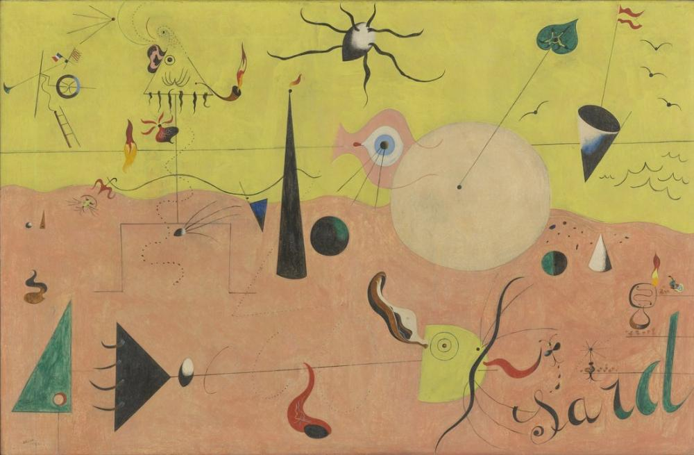Joan Miro The Hunter Catalan Landscape, Figure, Joan Miro, kanvas tablo, canvas print sales