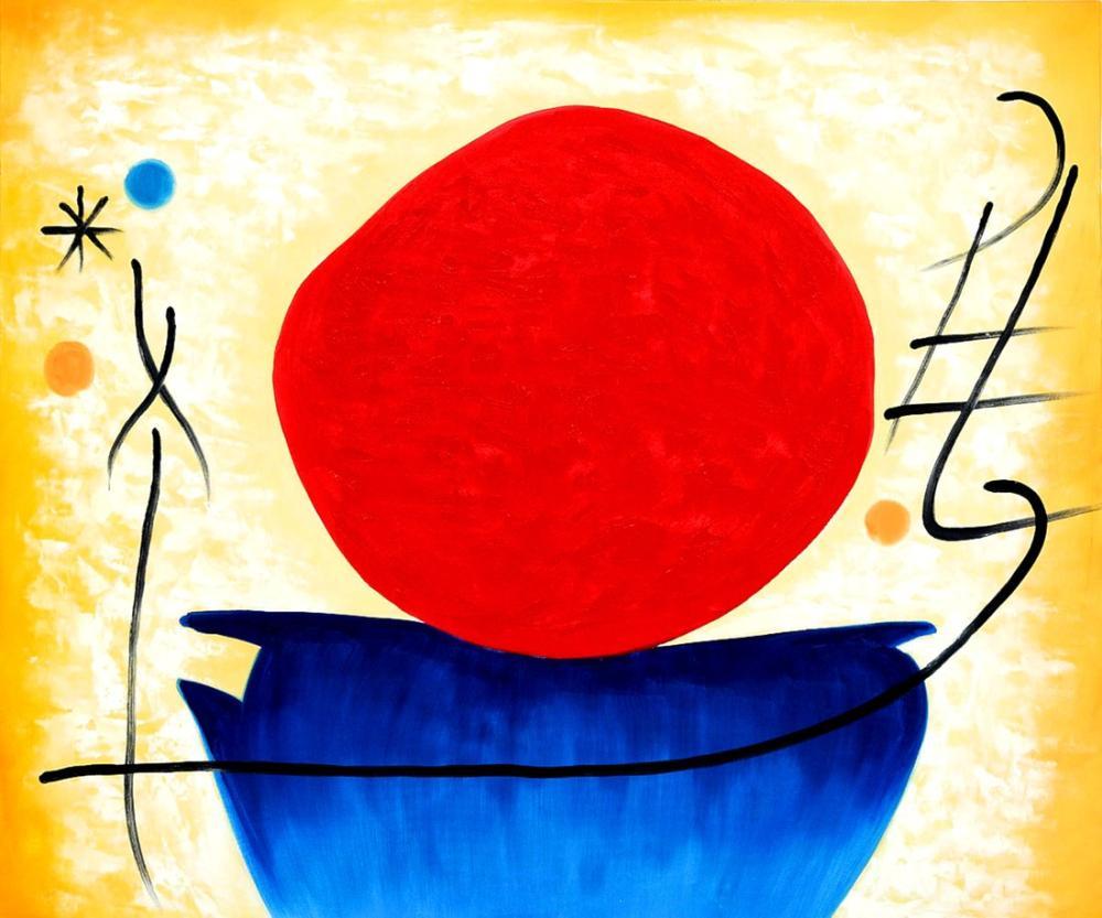 Joan Miro Kırmızı Güneş, Figür, Joan Miro, kanvas tablo, canvas print sales
