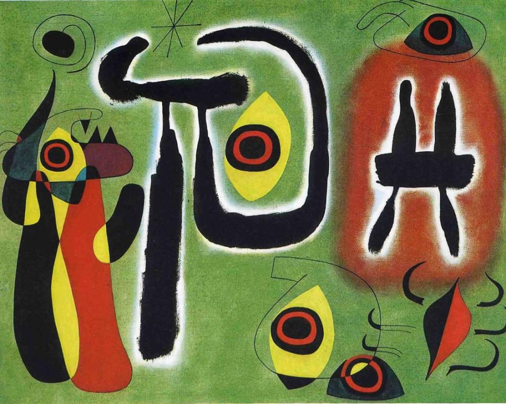 Joan Miro The Red Sun Eats The Spider, Figure, Joan Miro, kanvas tablo, canvas print sales