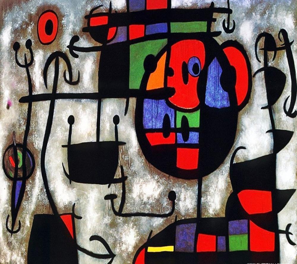Joan Miro The Skiing Lesson, Figure, Joan Miro, kanvas tablo, canvas print sales