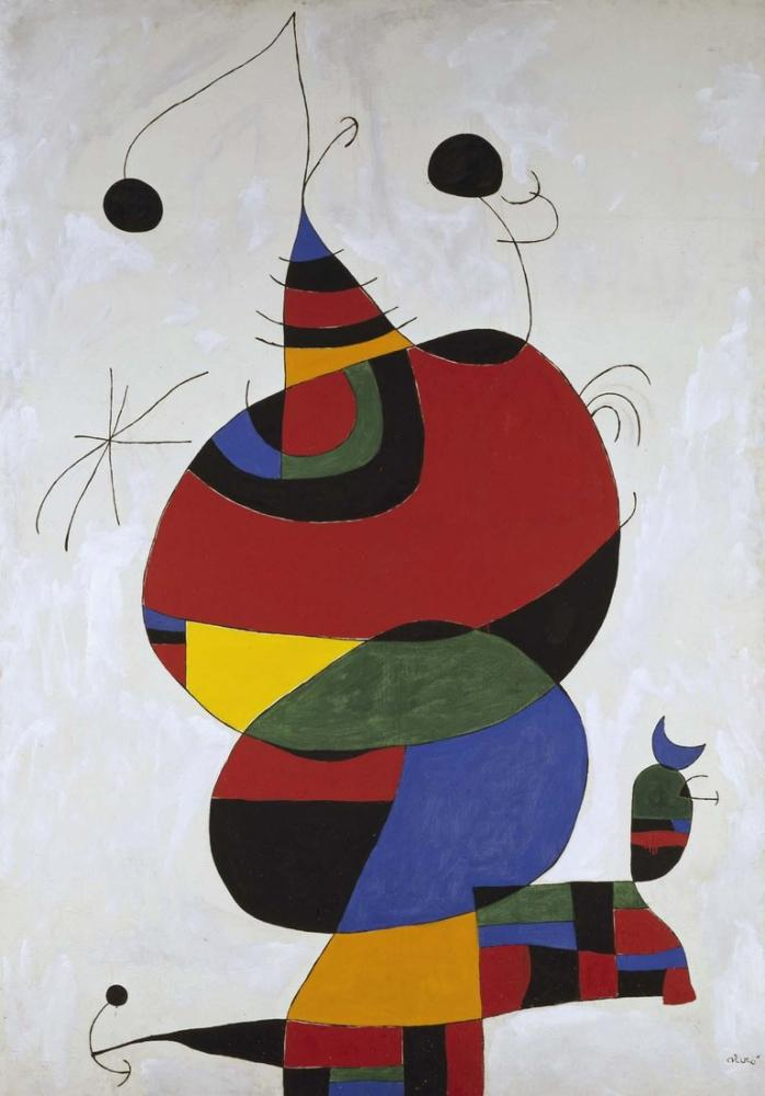 Joan Miro Kadın Kuş ve Yıldız, Figür, Joan Miro, kanvas tablo, canvas print sales