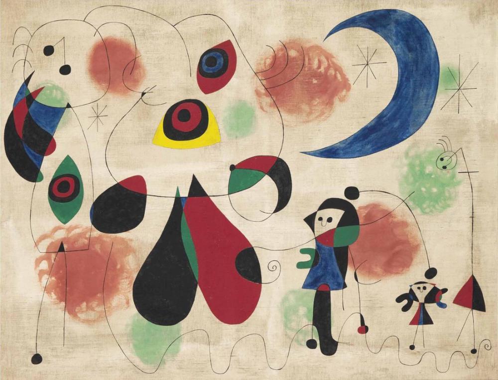 Joan Miro Kadın Ay Kuşları, Figür, Joan Miro, kanvas tablo, canvas print sales