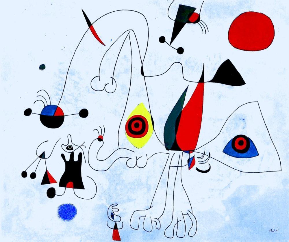 Joan Miro Güneş Doğarken Kadınlar Ve Kuşlar, Figür, Joan Miro, kanvas tablo, canvas print sales