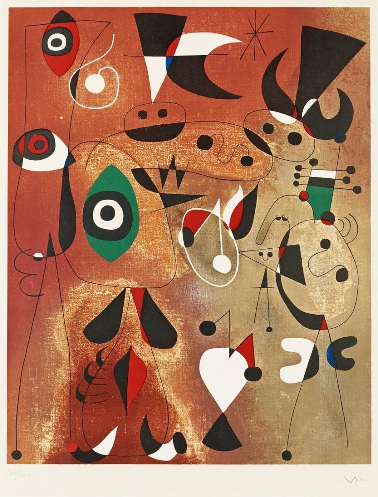 Joan Miro Women Birds And A Star, Figure, Joan Miro, kanvas tablo, canvas print sales