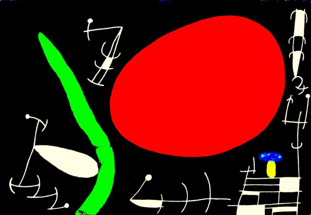 Joan Miro Big Red Sun, Figure, Joan Miro, kanvas tablo, canvas print sales