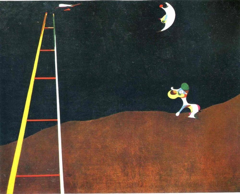 Joan Miro Aya Havlayan Köpek, Figür, Joan Miro, kanvas tablo, canvas print sales