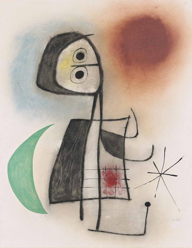 Joan Miro Ayın Önünde Kadın, Figür, Joan Miro, kanvas tablo, canvas print sales