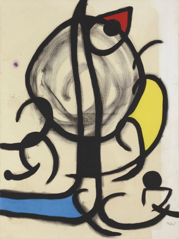 Joan Miro Woman Hearing Rooster Singing With Purple Shards, Figure, Joan Miro, kanvas tablo, canvas print sales