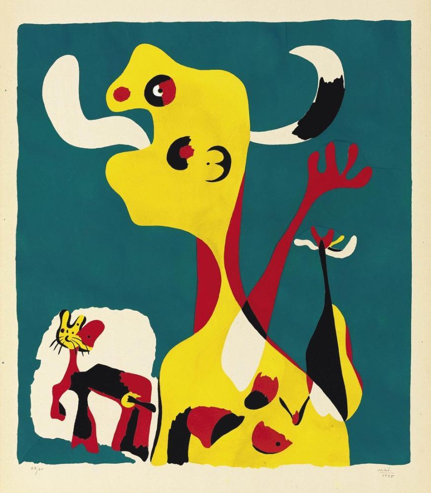 Joan Miro Ayın Önünde Kadın ve Köpek, Figür, Joan Miro, kanvas tablo, canvas print sales