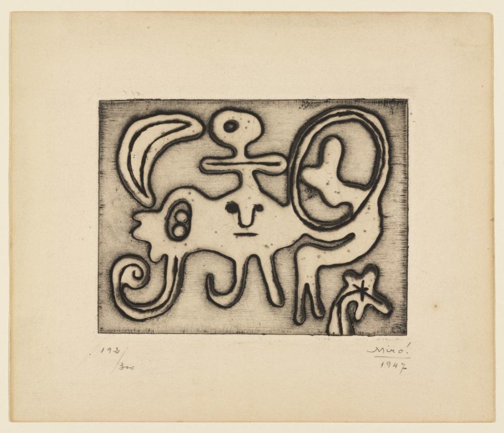 Joan Miro Ayın Önünde Kadın Ve Kuş, Figür, Joan Miro, kanvas tablo, canvas print sales