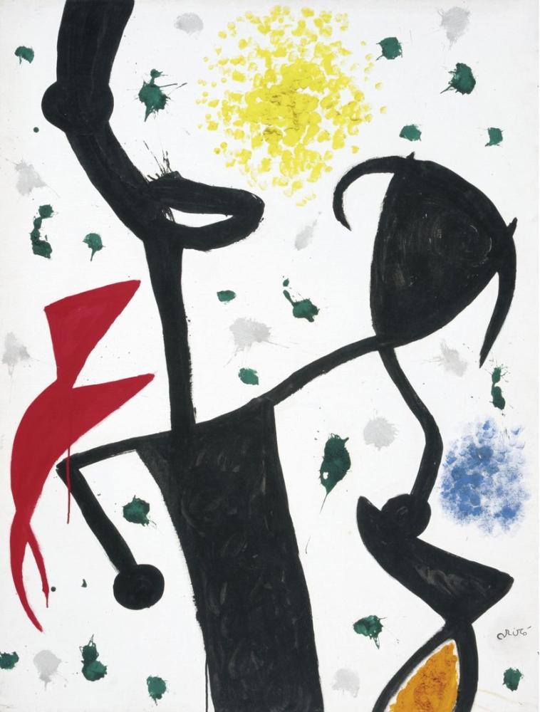 Joan Miro Kadın Kuş 1974, Figür, Joan Miro, kanvas tablo, canvas print sales