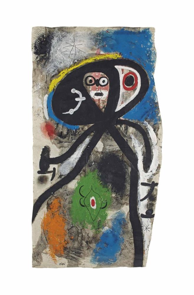 Joan Miro Femme Et Oiseaux Dans La Nuit, Figure, Joan Miro, kanvas tablo, canvas print sales