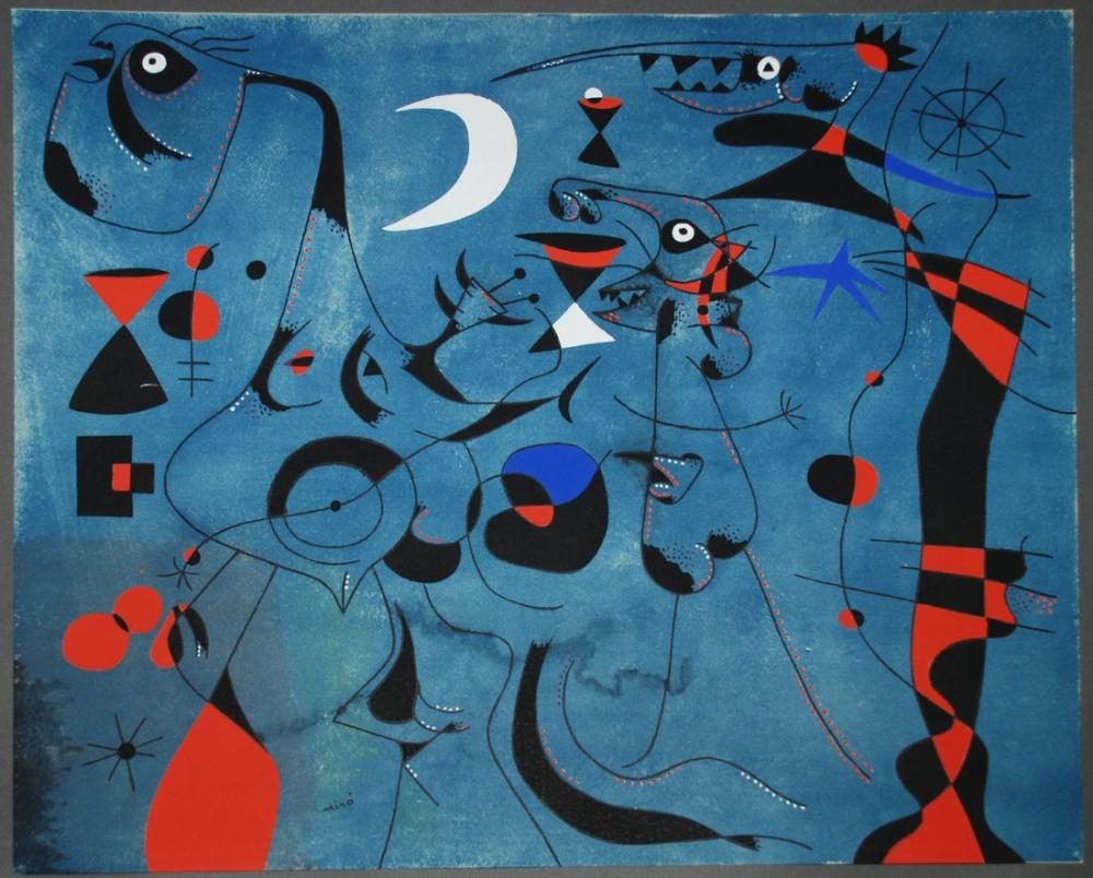 Joan Miro Figure At Night Guided By The Phosphorescent Tracks Of Snails, Figure, Joan Miro, kanvas tablo, canvas print sales
