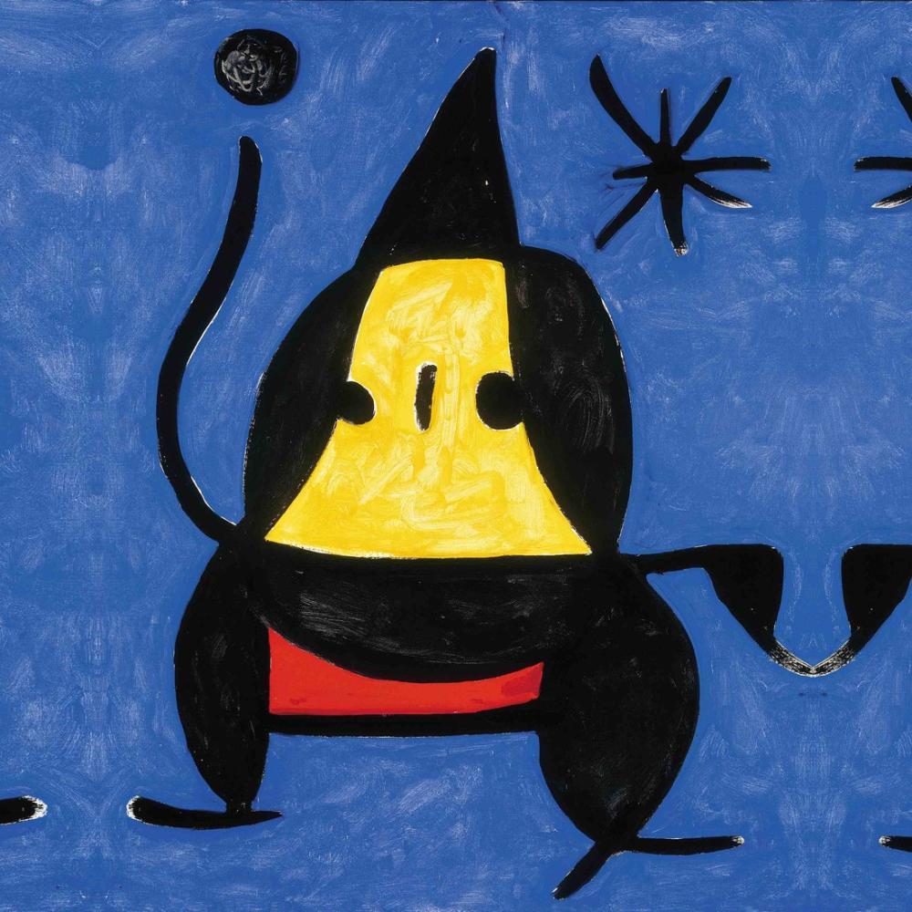 Joan Miro Figure on Blue, Figure, Joan Miro, kanvas tablo, canvas print sales