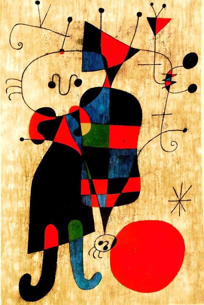 Joan Miro Rakamlar Ve Güneşin Önünde Köpek, Figür, Joan Miro, kanvas tablo, canvas print sales