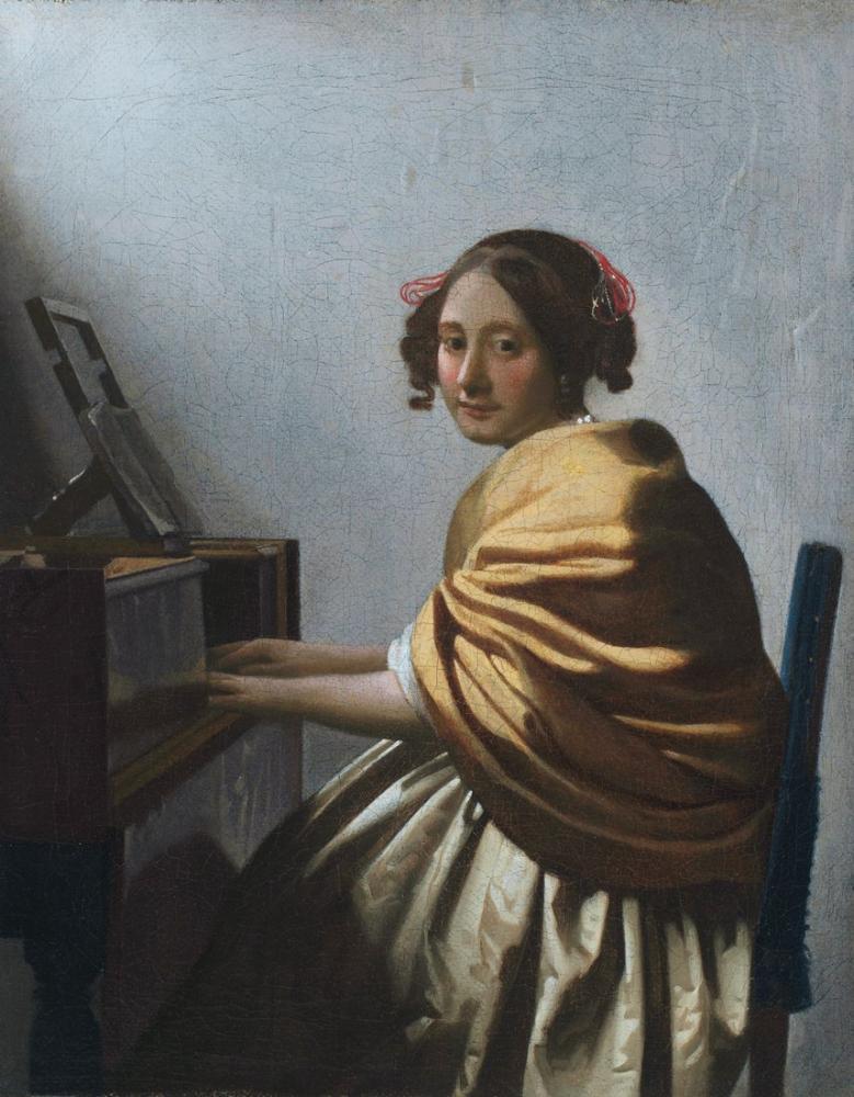 Johannes Vermeer Oturan Genç Bir Kadın Virginals, Kanvas Tablo, Johannes Vermeer, kanvas tablo, canvas print sales