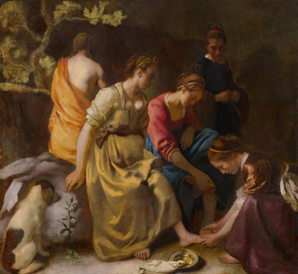 Johannes Vermeer Diana Ve Arkadaşları, Kanvas Tablo, Johannes Vermeer, kanvas tablo, canvas print sales