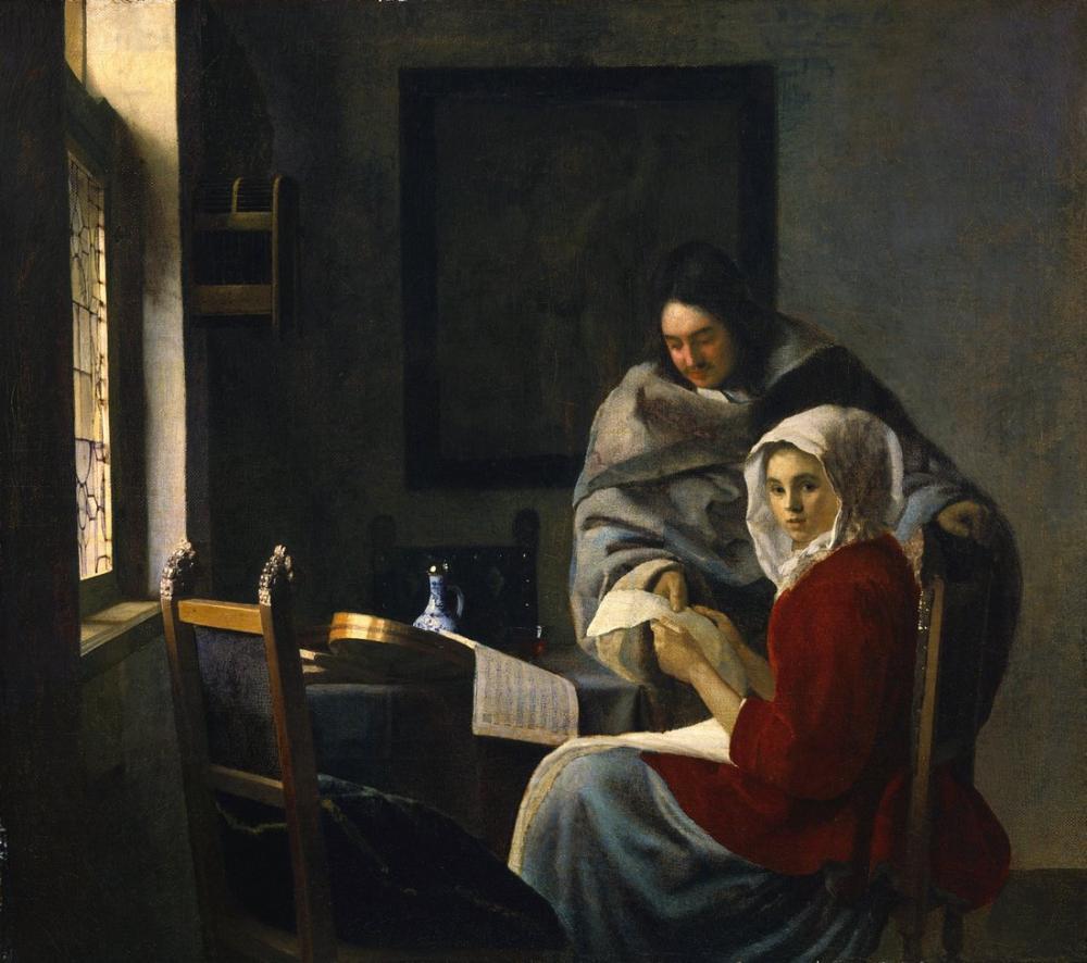 Johannes Vermeer Girl Interrupted At Her Music, Canvas, Johannes Vermeer, kanvas tablo, canvas print sales