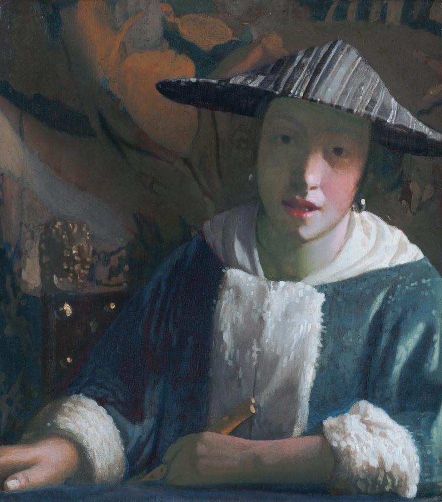 Johannes Vermeer Flüt İle Kız, Kanvas Tablo, Johannes Vermeer, kanvas tablo, canvas print sales