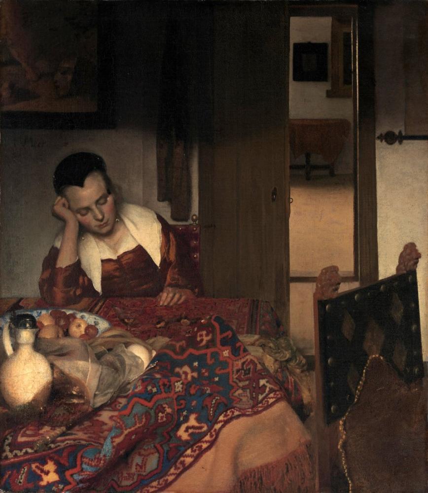 Johannes Vermeer Uykuda Bir Kız, Kanvas Tablo, Johannes Vermeer, kanvas tablo, canvas print sales
