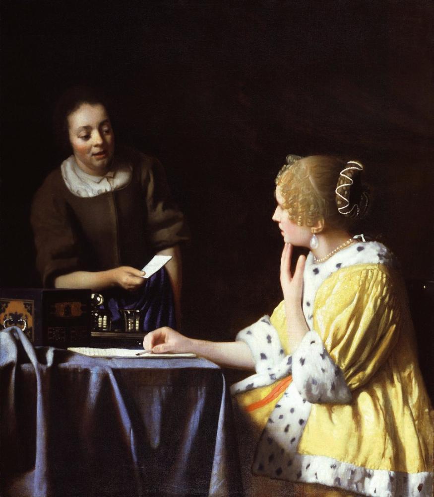 Johannes Vermeer Lady Maidservant Holding Letter, Canvas, Johannes Vermeer, kanvas tablo, canvas print sales