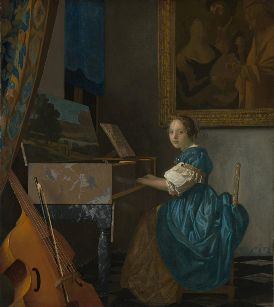Johannes Vermeer Lady Seated At A Virginal, Canvas, Johannes Vermeer, kanvas tablo, canvas print sales
