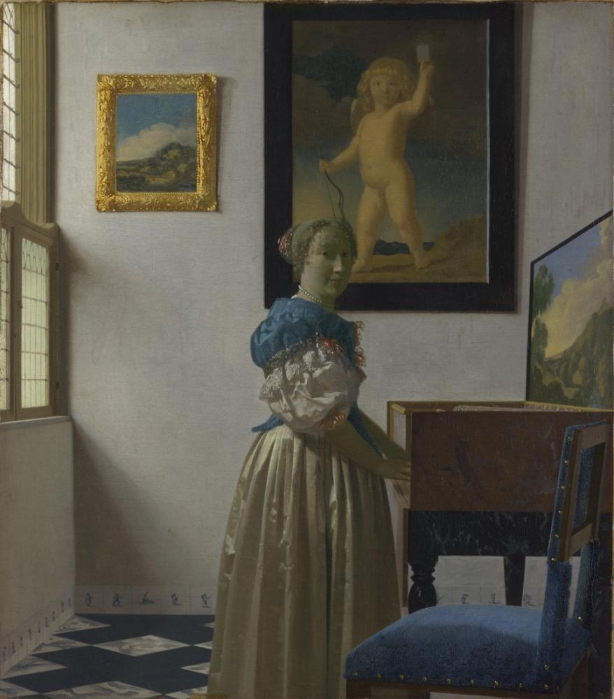 Johannes Vermeer Ayakda DuranBir Kadın, Kanvas Tablo, Johannes Vermeer, kanvas tablo, canvas print sales