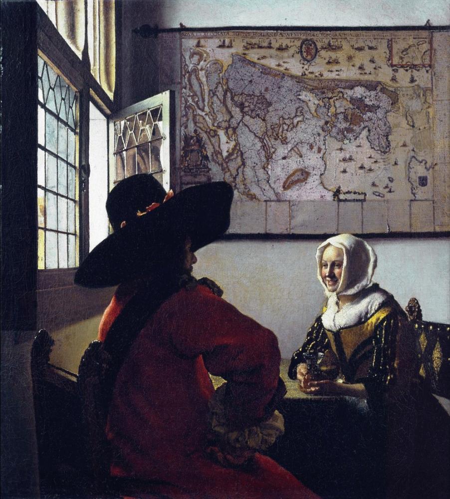 Johannes Vermeer Memur Ve Gülen Kız, Kanvas Tablo, Johannes Vermeer, kanvas tablo, canvas print sales