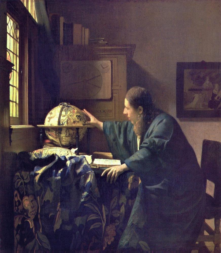 Johannes Vermeer Astronom, Kanvas Tablo, Johannes Vermeer, kanvas tablo, canvas print sales