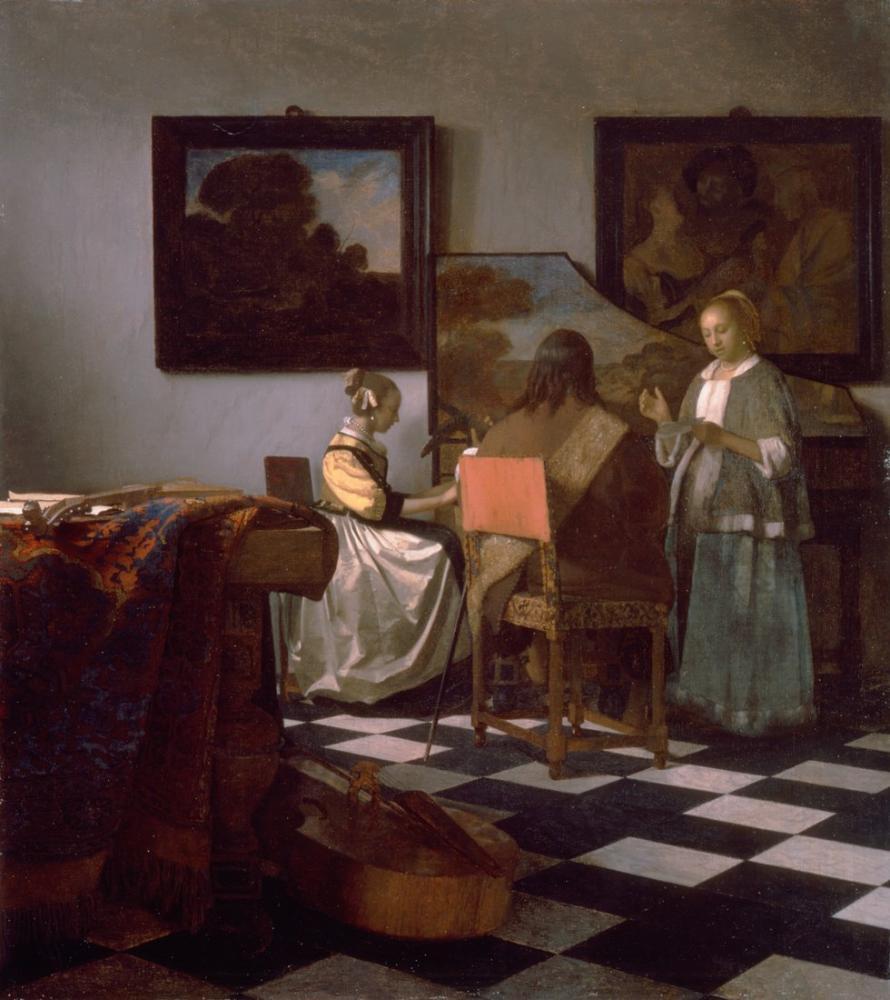 Johannes Vermeer The Concert, Canvas, Johannes Vermeer, kanvas tablo, canvas print sales