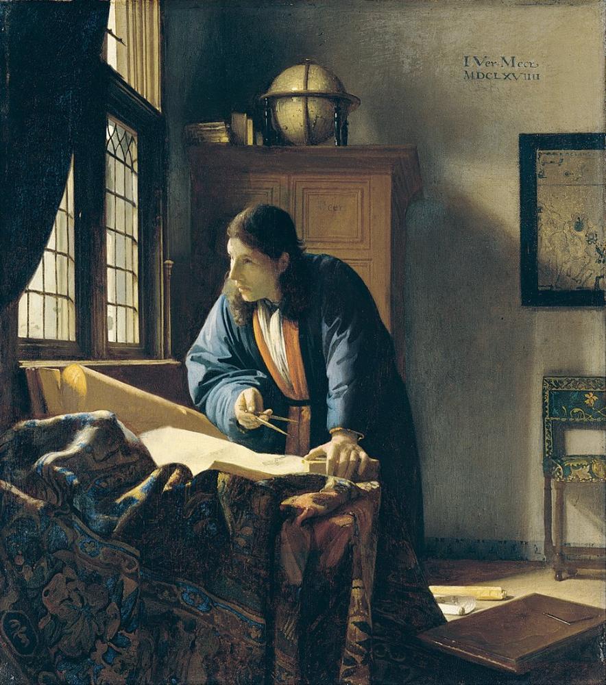 Johannes Vermeer The Geographer, Canvas, Johannes Vermeer, kanvas tablo, canvas print sales