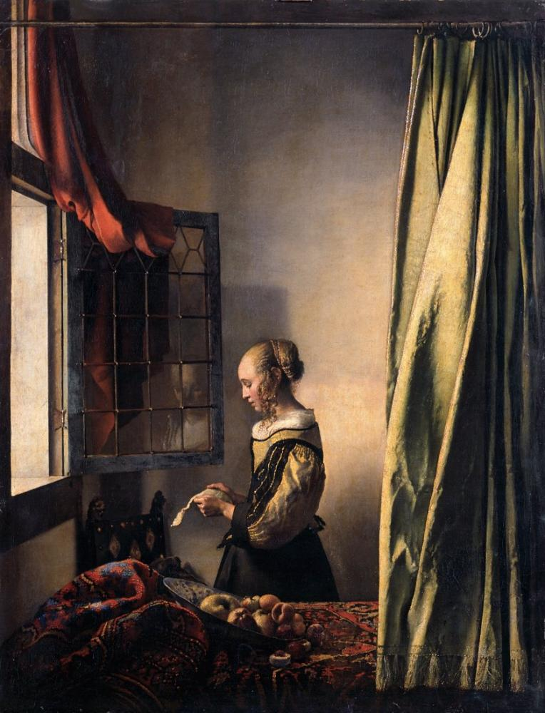 Johannes Vermeer Woman Reading A Letter, Canvas, Johannes Vermeer, kanvas tablo, canvas print sales