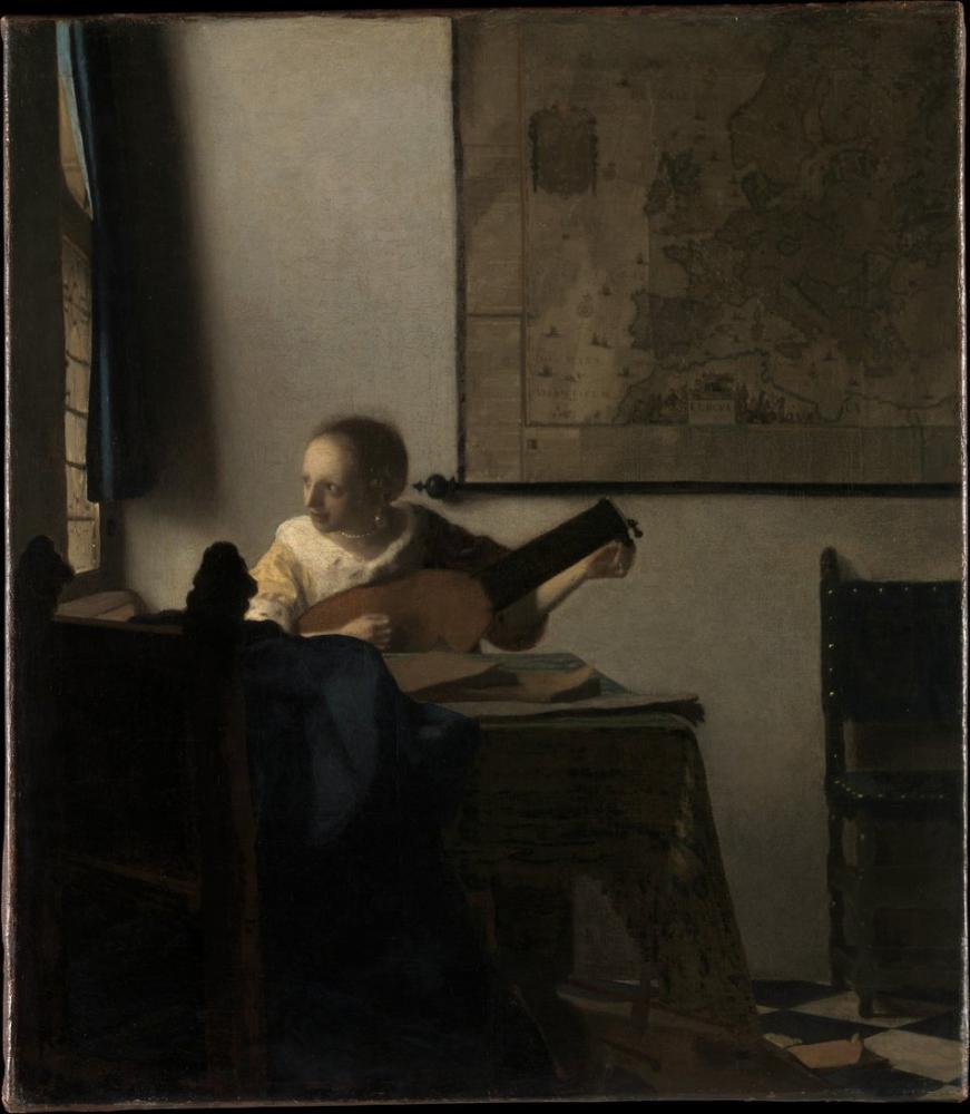Johannes Vermeer Ud İle Kadın, Kanvas Tablo, Johannes Vermeer, kanvas tablo, canvas print sales