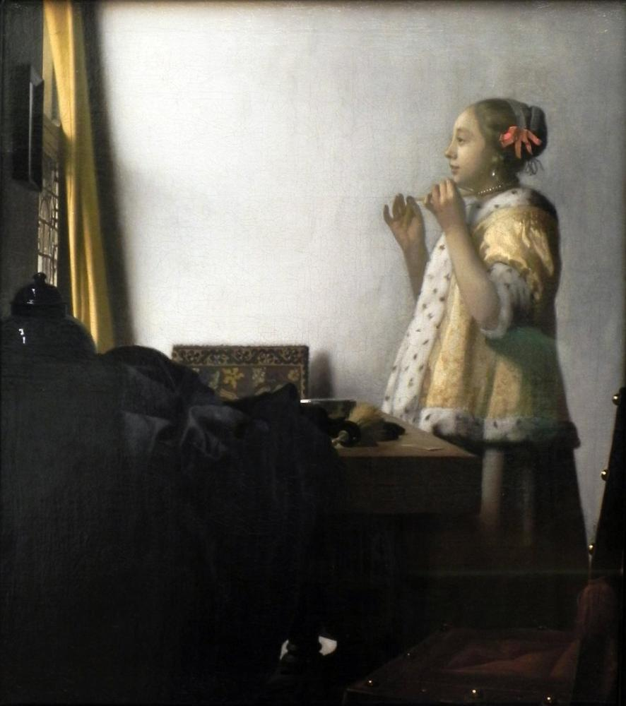Johannes Vermeer Woman With A Pearl Necklace, Canvas, Johannes Vermeer, kanvas tablo, canvas print sales