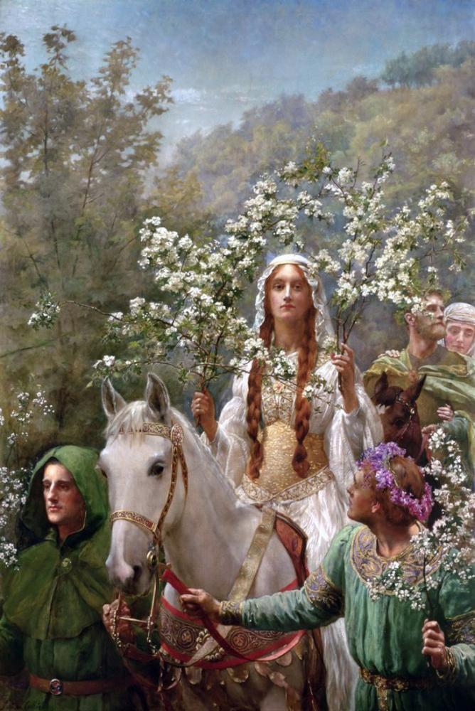 John Collier Kraliçe Guinevere Baharı Kutlama, Kanvas Tablo, John Collier, kanvas tablo, canvas print sales