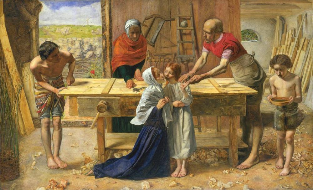 John Everett Millais Ebeveynlerinin Evinde Mesih Marangoz Dükkanı, Kanvas Tablo, John Everett Millais, kanvas tablo, canvas print sales