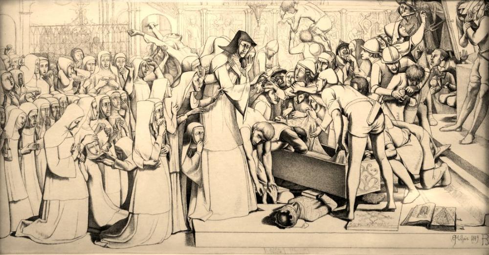 John Everett Millais The Disentombment Of Queen Matilda, Canvas, John Everett Millais, kanvas tablo, canvas print sales