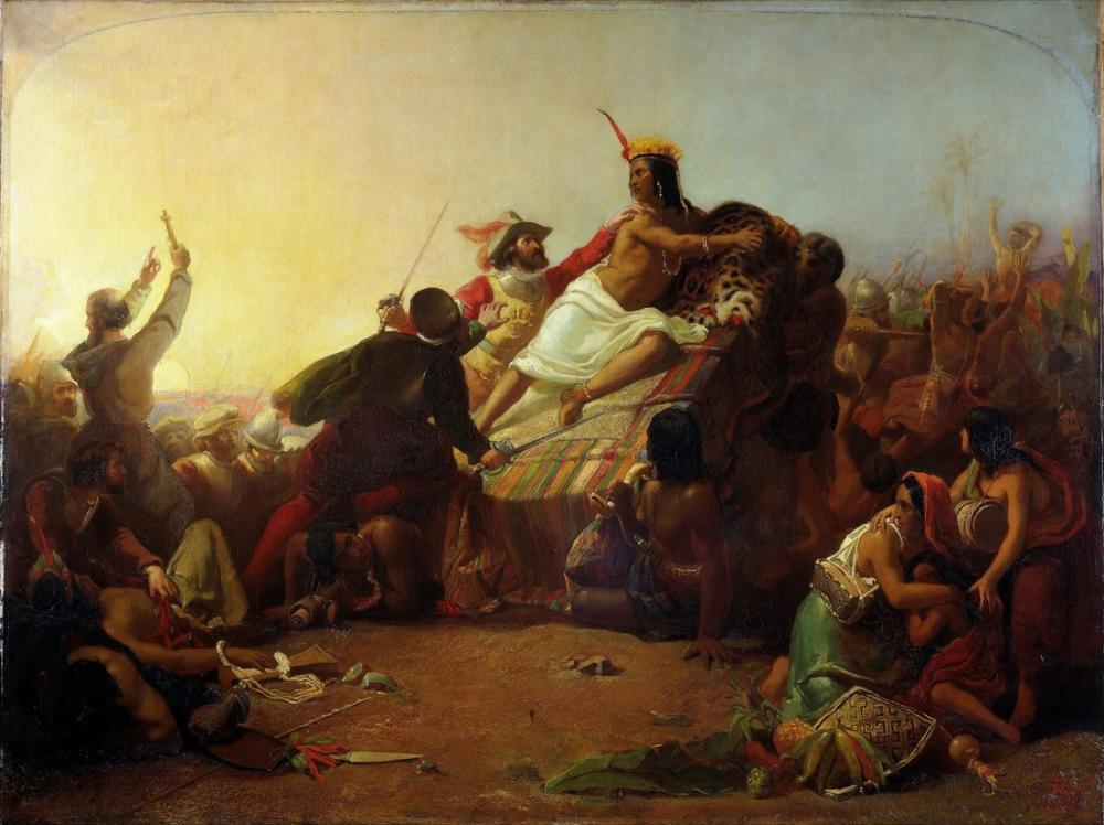 John Everett Millais Sir Pizarro Peru İnkalarını Ele Geçirdi, Kanvas Tablo, John Everett Millais, kanvas tablo, canvas print sales