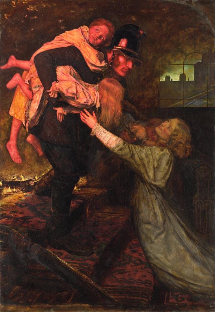 John Everett Millais The Rescue, Canvas, John Everett Millais, kanvas tablo, canvas print sales
