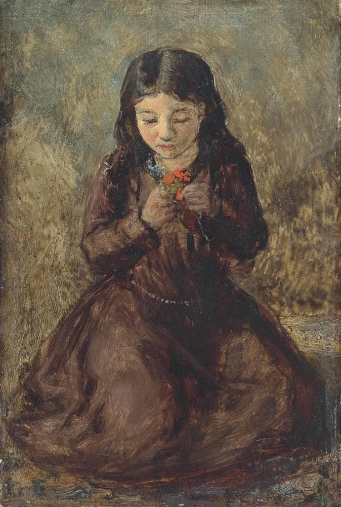 John Everett Millais Kız, Kanvas Tablo, John Everett Millais, kanvas tablo, canvas print sales