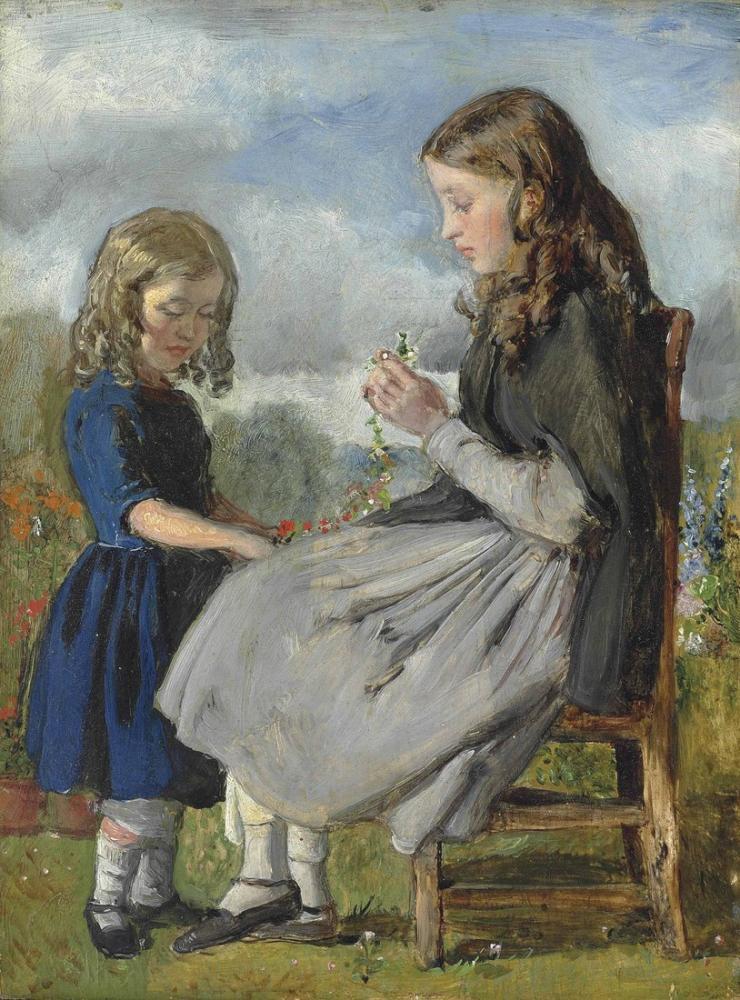 John Everett Millais Çelenk Dokumacıları, Kanvas Tablo, John Everett Millais, kanvas tablo, canvas print sales