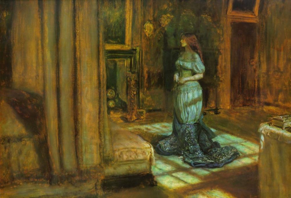 John Everett Millais Madeleine Soyunma St Agnes Arifesinde, Kanvas Tablo, John Everett Millais, kanvas tablo, canvas print sales