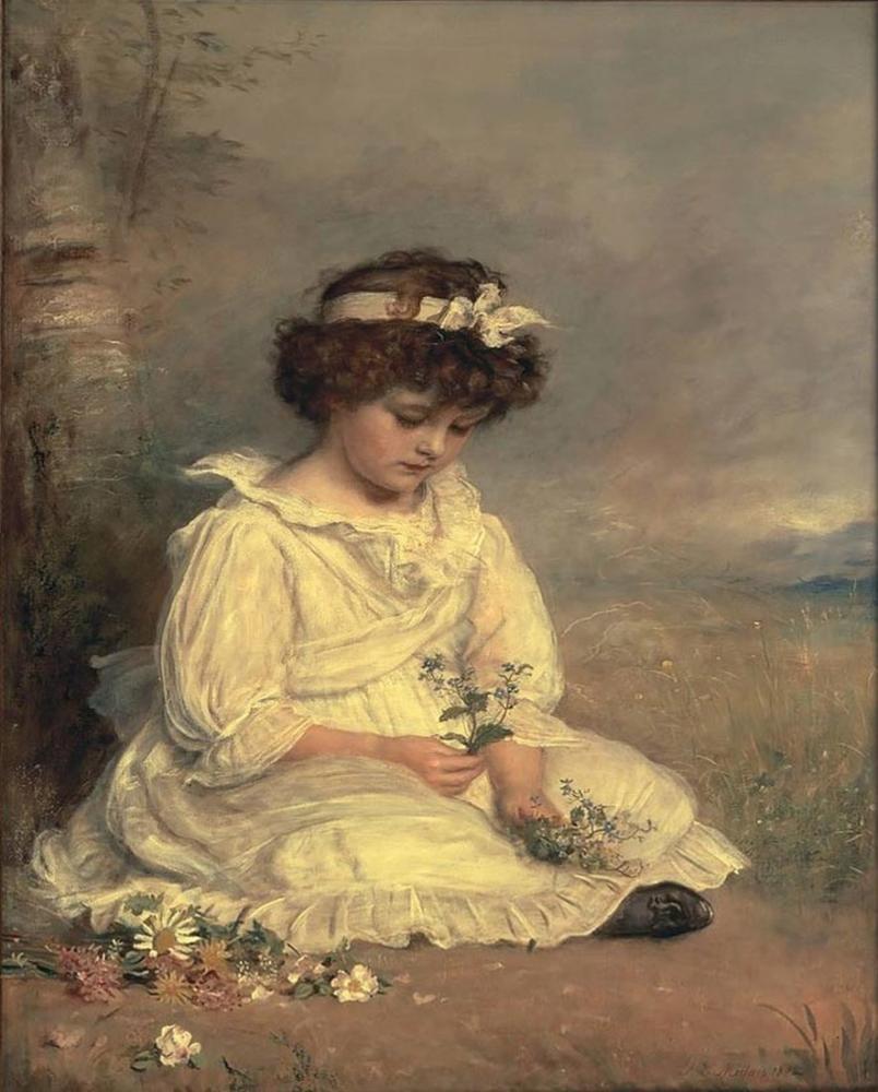 John Everett Millais Little Speedwells Darling Blue, Canvas, John Everett Millais, kanvas tablo, canvas print sales