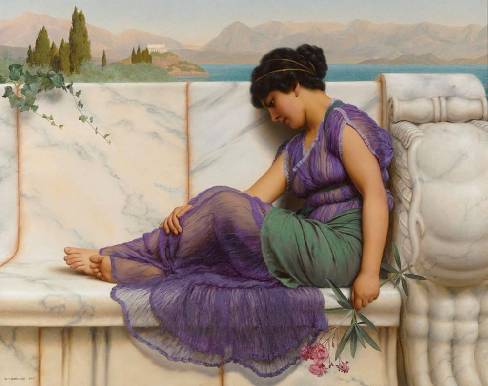John William Godward Summer Idleness Day Dreams, Canvas, John William Godward, kanvas tablo, canvas print sales