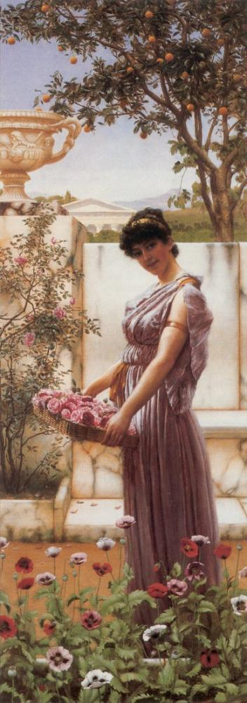 John William Godward Venüs 1890 Çiçekleri, Kanvas Tablo, John William Godward, kanvas tablo, canvas print sales